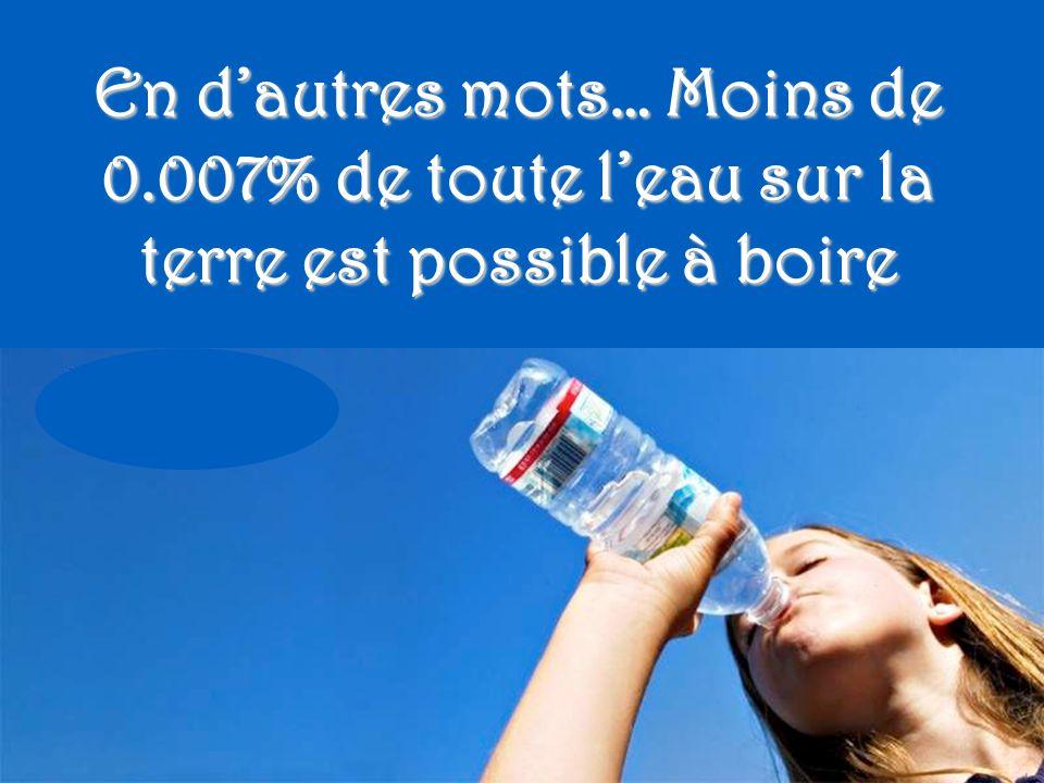 Moins de 1% de l'eau est accessible pour la consommation