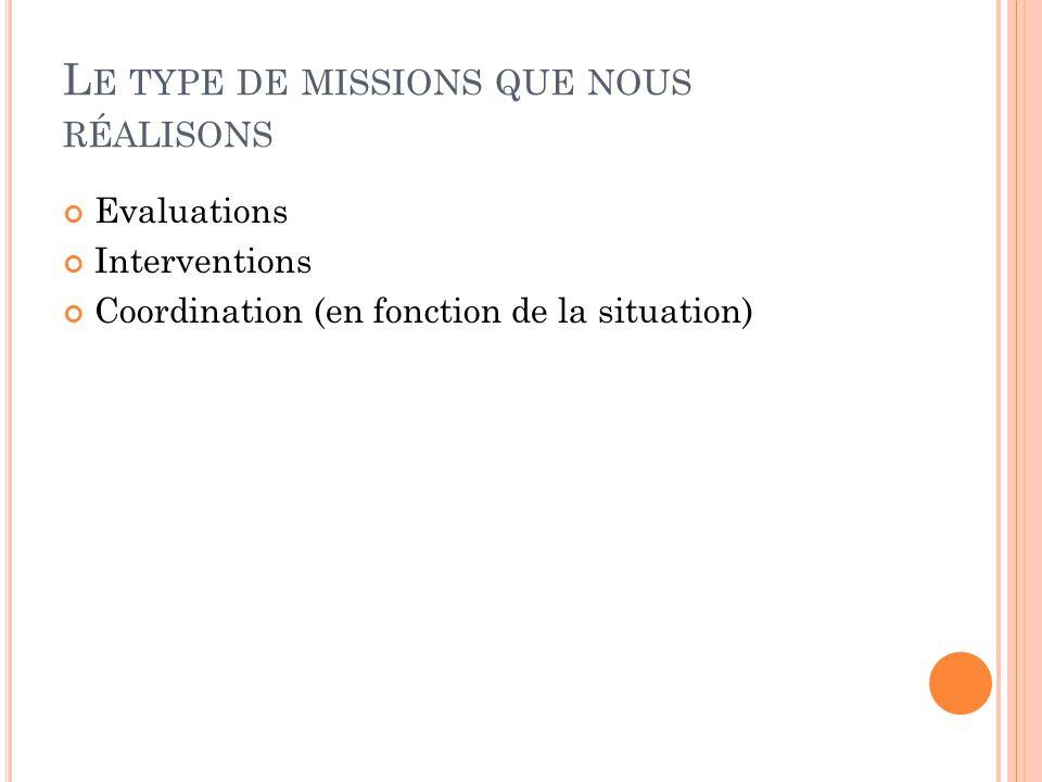 L E TYPE DE MISSIONS QUE NOUS RÉALISONS Evaluations Interventions Coordination (en fonction de la situation)