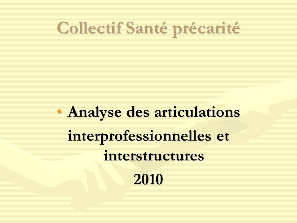 Collectif Santé précarité Analyse des articulationsAnalyse des articulations interprofessionnelles et interstructures 2010