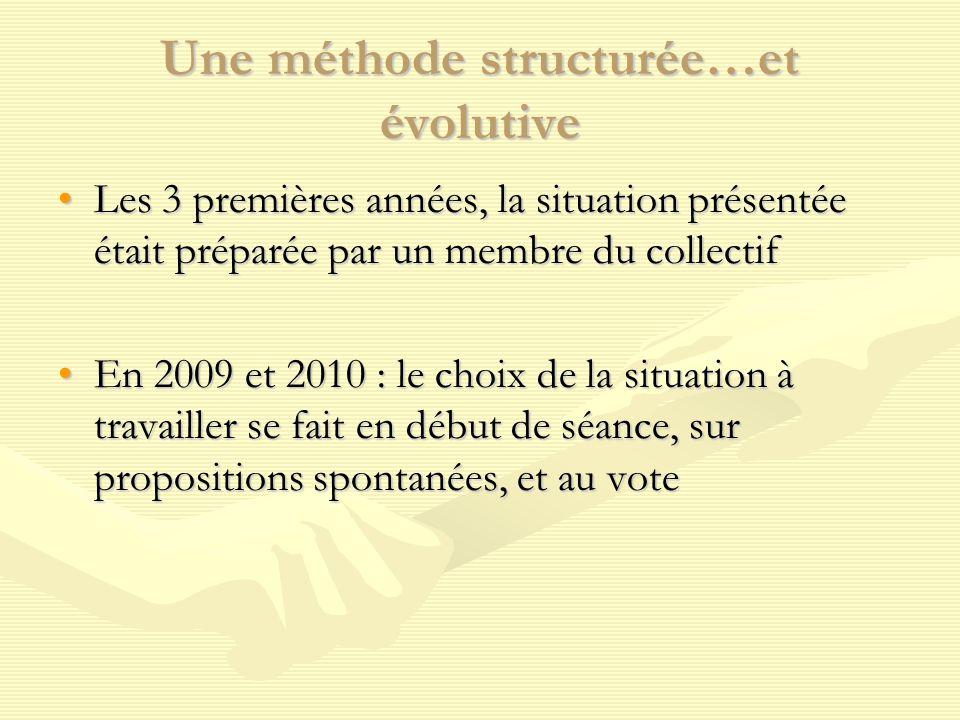 Une méthode structurée…et évolutive Les 3 premières années, la situation présentée était préparée par un membre du collectifLes 3 premières années, la