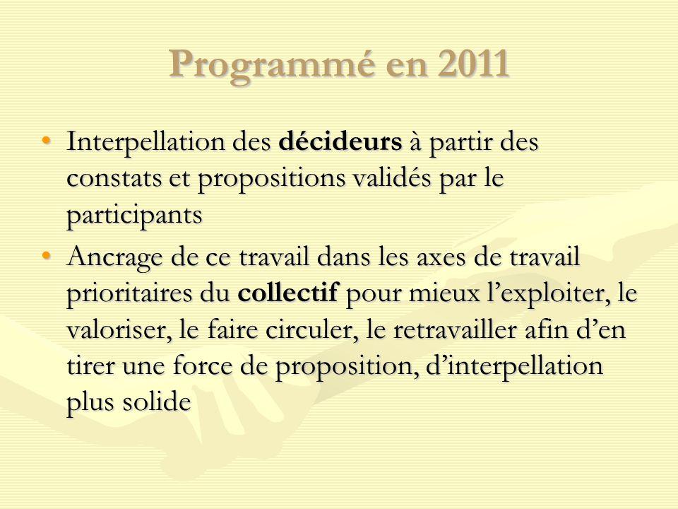Programmé en 2011 Interpellation des décideurs à partir des constats et propositions validés par le participantsInterpellation des décideurs à partir