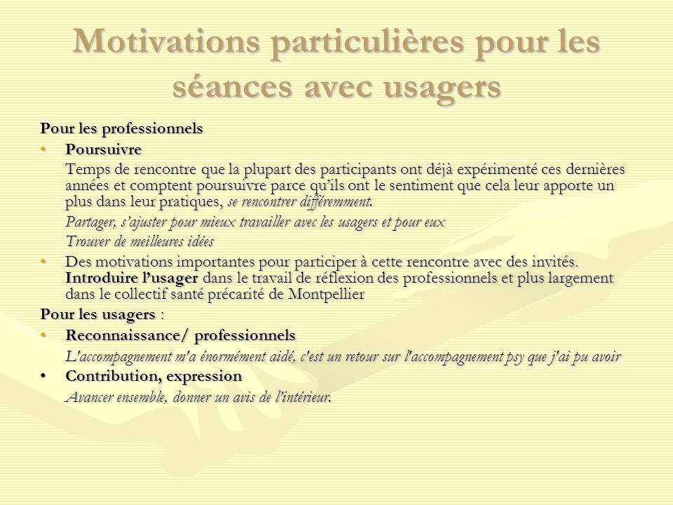 Motivations particulières pour les séances avec usagers Pour les professionnels PoursuivrePoursuivre Temps de rencontre que la plupart des participant
