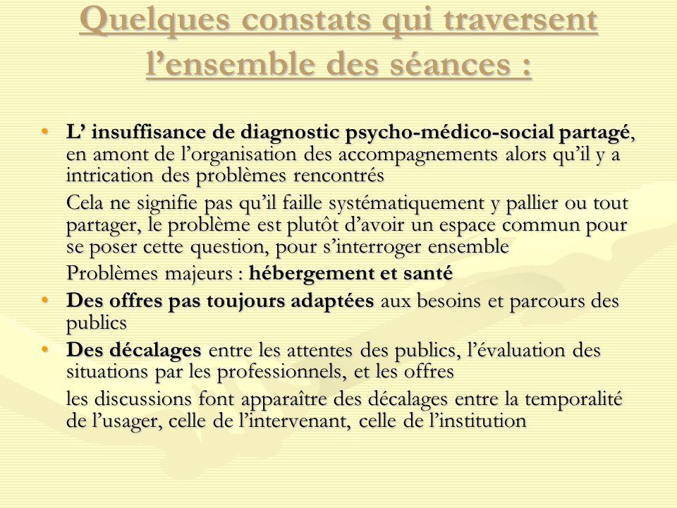 Quelques constats qui traversent l'ensemble des séances : L' insuffisance de diagnostic psycho-médico-social partagé, en amont de l'organisation des a