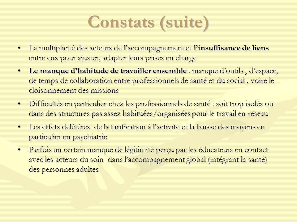 Constats (suite) La multiplicité des acteurs de l'accompagnement et l'insuffisance de liens entre eux pour ajuster, adapter leurs prises en charge La