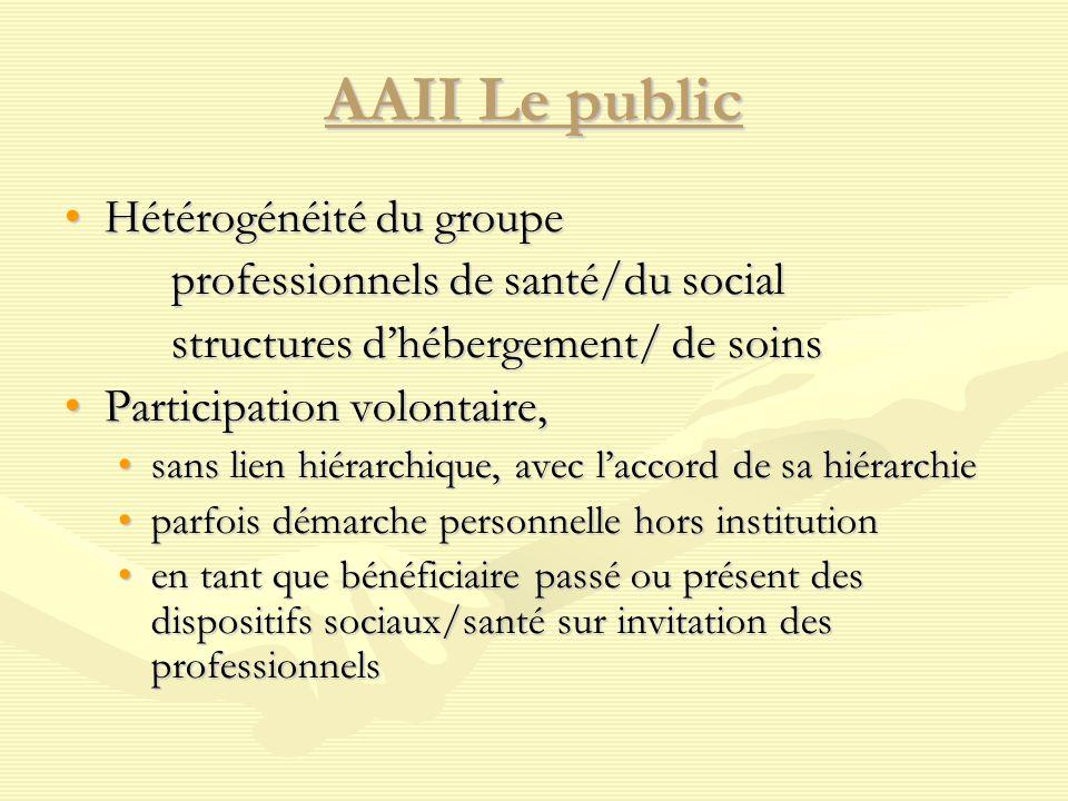 AAII Le public Hétérogénéité du groupeHétérogénéité du groupe professionnels de santé/du social structures d'hébergement/ de soins Participation volon