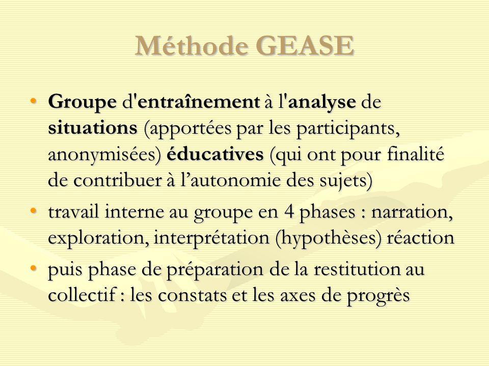 Méthode GEASE Groupe d'entraînement à l'analyse de situations (apportées par les participants, anonymisées) éducatives (qui ont pour finalité de contr