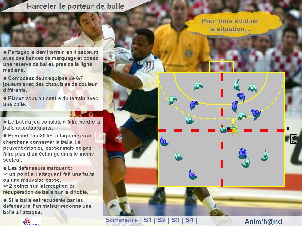 Anim'h@nd SommaireSommaire | S1 | S2 | S3 | S4 |S1S2S3S4 Pour faire évoluer la situation… Pour faire évoluer la situation… Harceler le porteur de balle Le but du jeu consiste à faire perdre la balle aux attaquants.