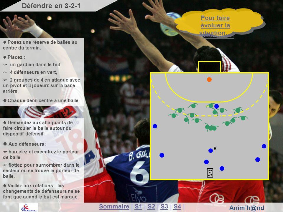 Anim'h@nd SommaireSommaire | S1 | S2 | S3 | S4 |S1S2S3S4 Pour faire évoluer la situation… Pour faire évoluer la situation… Défendre en 3-2-1 Posez une réserve de balles au centre du terrain.