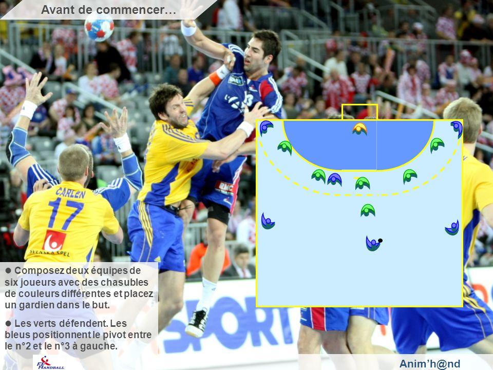 Anim'h@nd Composez deux équipes de six joueurs avec des chasubles de couleurs différentes et placez un gardien dans le but.