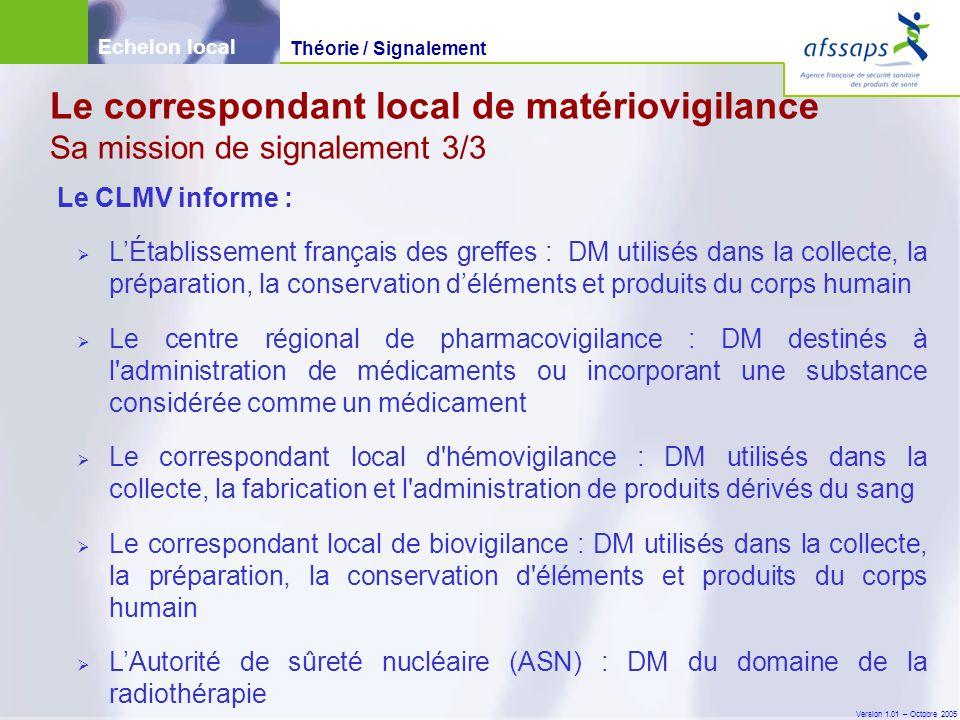 Version 1.01 – Octobre 2005 Le CLMV informe :  L'Établissement français des greffes : DM utilisés dans la collecte, la préparation, la conservation d