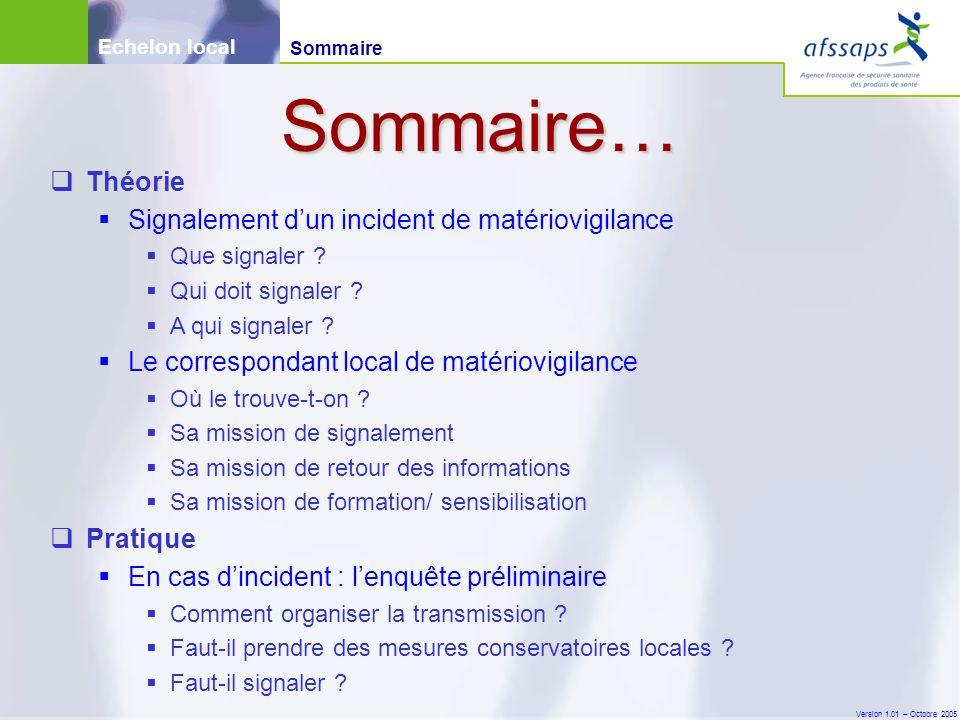 Version 1.01 – Octobre 2005  Théorie  Signalement d'un incident de matériovigilance  Que signaler ?  Qui doit signaler ?  A qui signaler ?  Le c