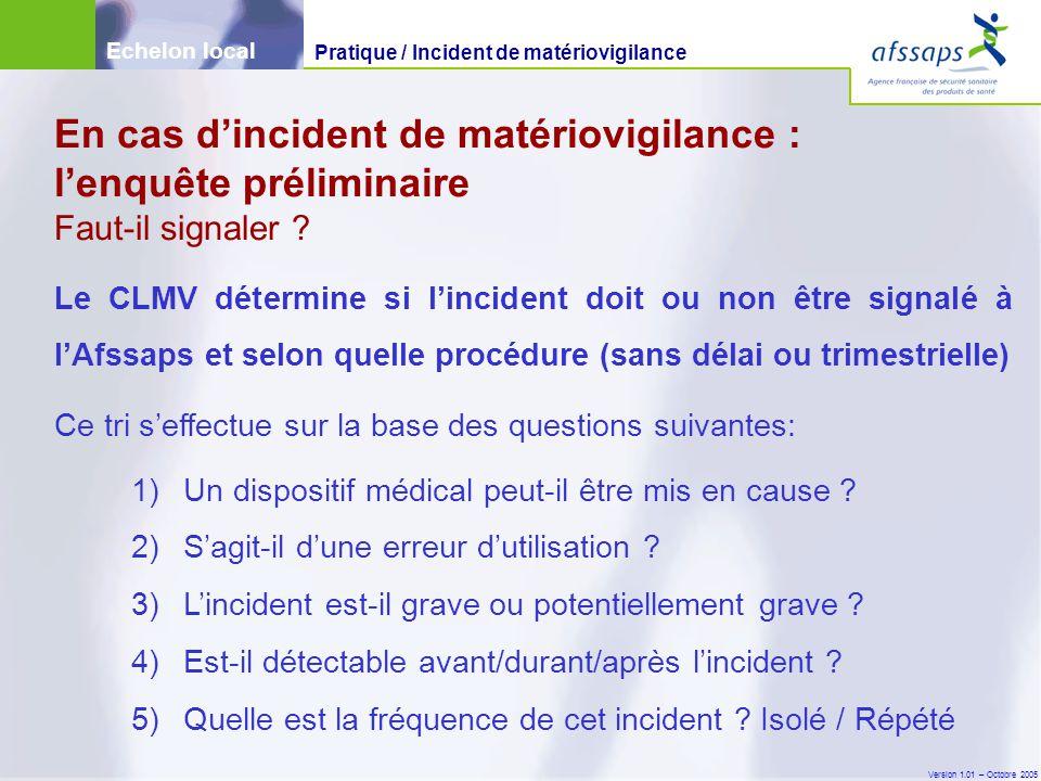 Version 1.01 – Octobre 2005 Le CLMV détermine si l'incident doit ou non être signalé à l'Afssaps et selon quelle procédure (sans délai ou trimestrielle) Ce tri s'effectue sur la base des questions suivantes: 1)Un dispositif médical peut-il être mis en cause .