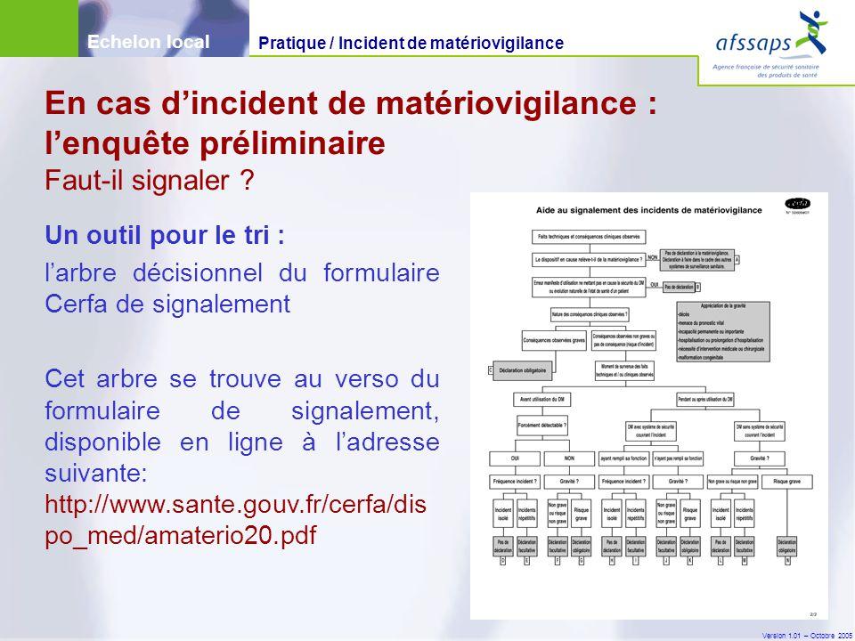 Version 1.01 – Octobre 2005 Un outil pour le tri : l'arbre décisionnel du formulaire Cerfa de signalement Cet arbre se trouve au verso du formulaire de signalement, disponible en ligne à l'adresse suivante: http://www.sante.gouv.fr/cerfa/dis po_med/amaterio20.pdf En cas d'incident de matériovigilance : l'enquête préliminaire Faut-il signaler .