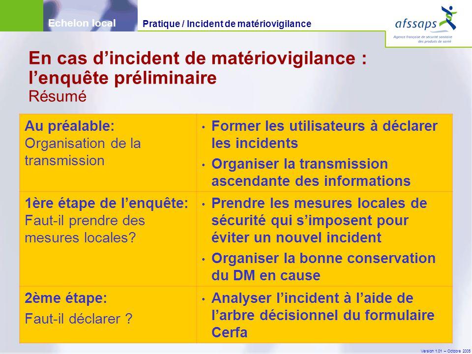 Version 1.01 – Octobre 2005 En cas d'incident de matériovigilance : l'enquête préliminaire Résumé Au préalable: Organisation de la transmission Former