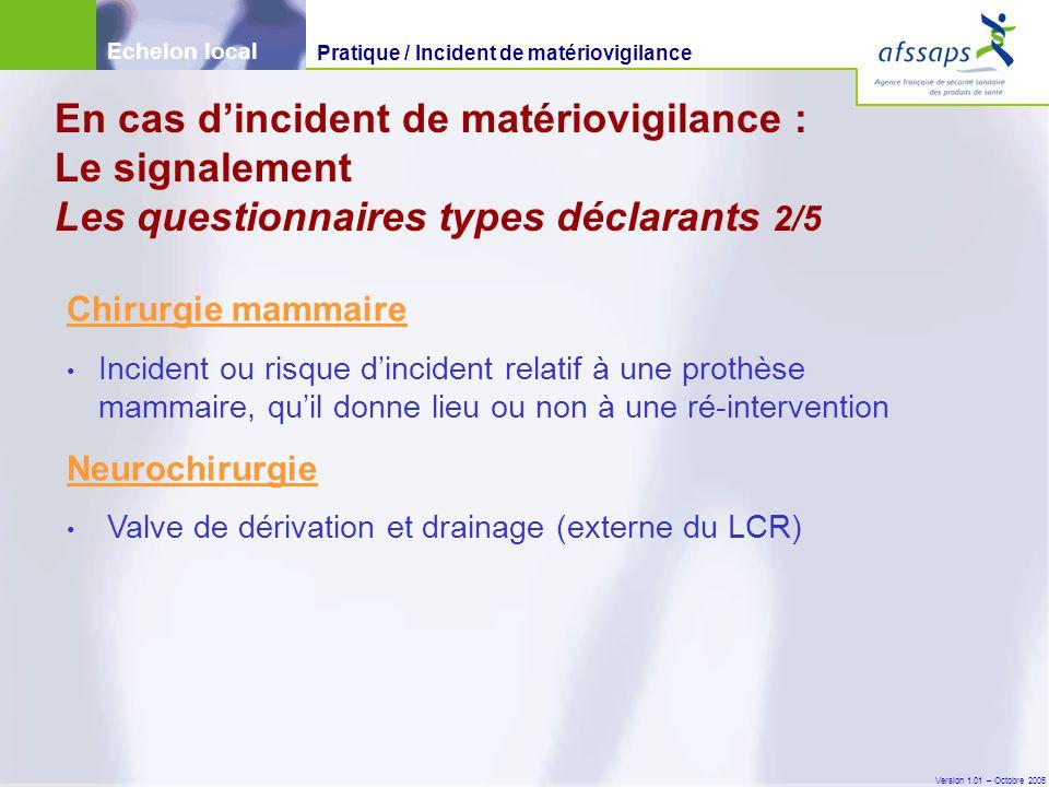 Version 1.01 – Octobre 2005 Chirurgie mammaire Incident ou risque d'incident relatif à une prothèse mammaire, qu'il donne lieu ou non à une ré-interve