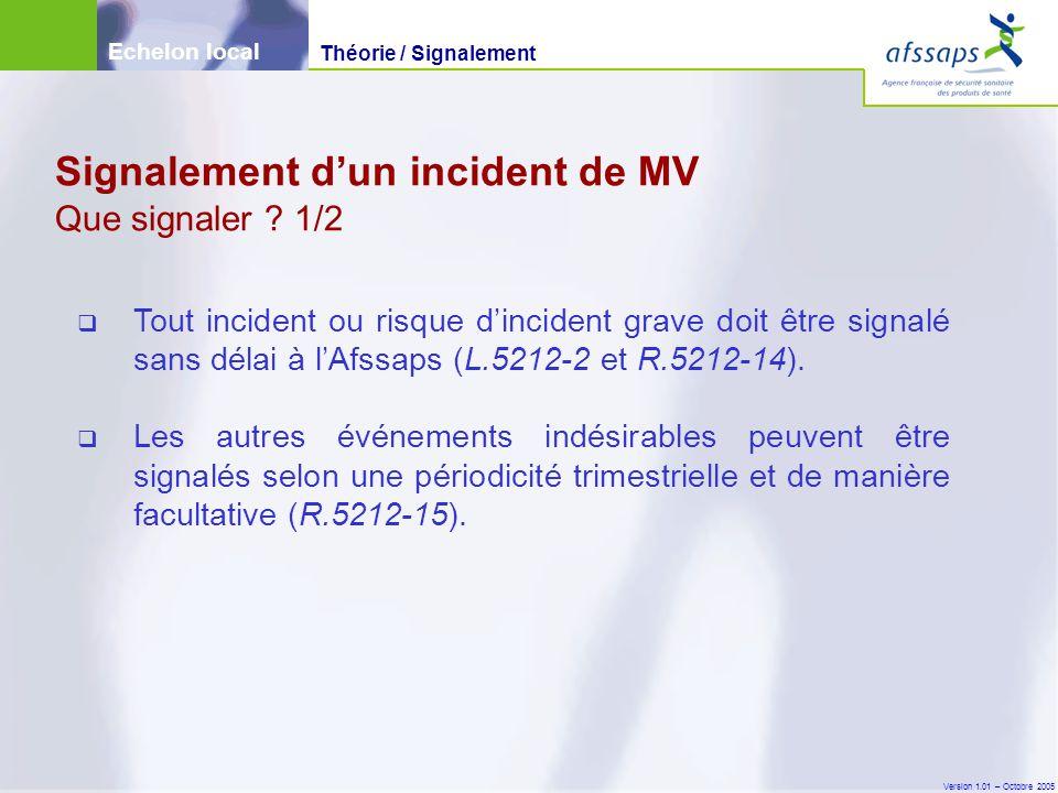 Version 1.01 – Octobre 2005  Tout incident ou risque d'incident grave doit être signalé sans délai à l'Afssaps (L.5212-2 et R.5212-14).  Les autres