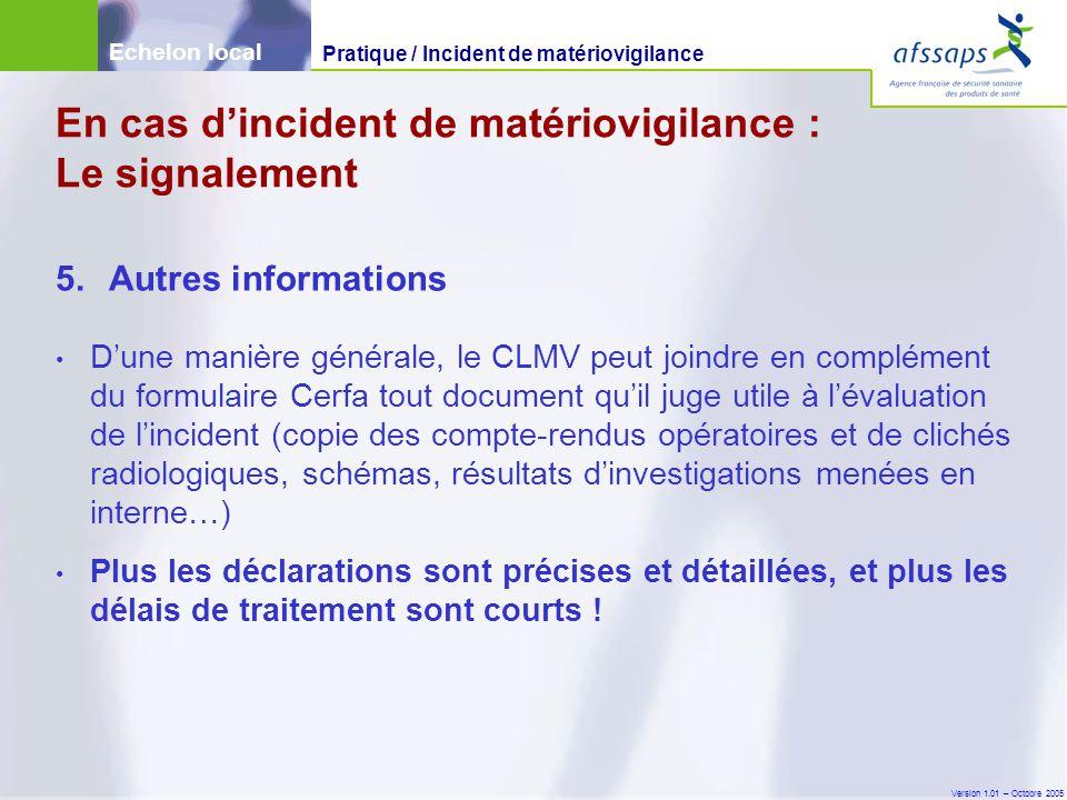 Version 1.01 – Octobre 2005 5.Autres informations D'une manière générale, le CLMV peut joindre en complément du formulaire Cerfa tout document qu'il j