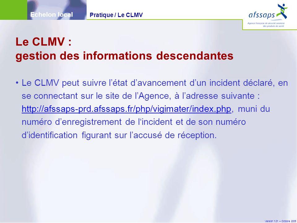 Version 1.01 – Octobre 2005 Le CLMV peut suivre l'état d'avancement d'un incident déclaré, en se connectant sur le site de l'Agence, à l'adresse suivante : http://afssaps-prd.afssaps.fr/php/vigimater/index.php, muni du numéro d'enregistrement de l'incident et de son numéro d'identification figurant sur l'accusé de réception.