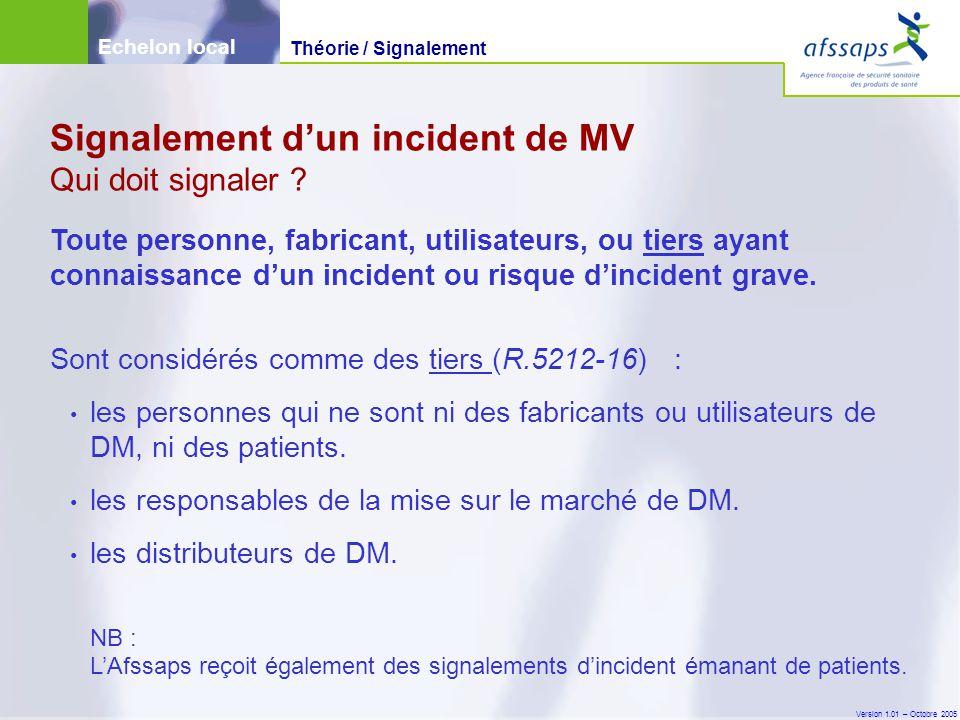 Version 1.01 – Octobre 2005 Toute personne, fabricant, utilisateurs, ou tiers ayant connaissance d'un incident ou risque d'incident grave. Sont consid