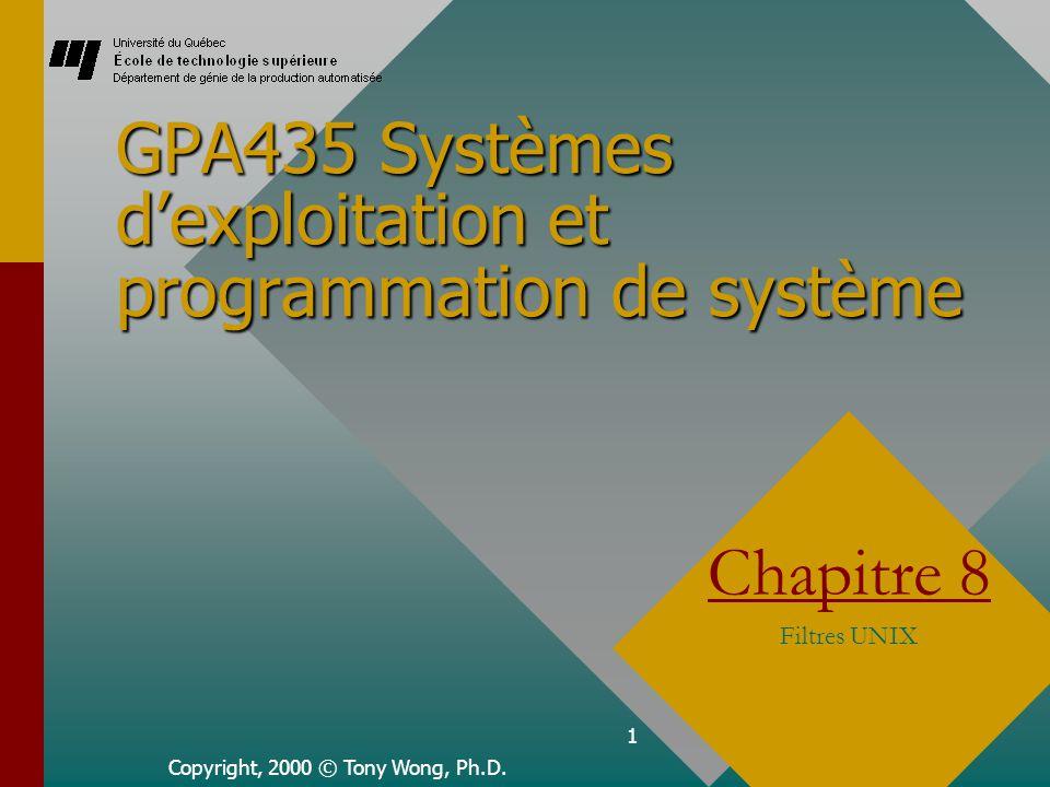 1 GPA435 Systèmes d'exploitation et programmation de système Copyright, 2000 © Tony Wong, Ph.D.