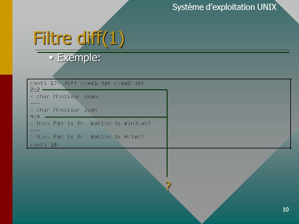 10 Filtre diff(1) Système d'exploitation UNIX  Exemple: