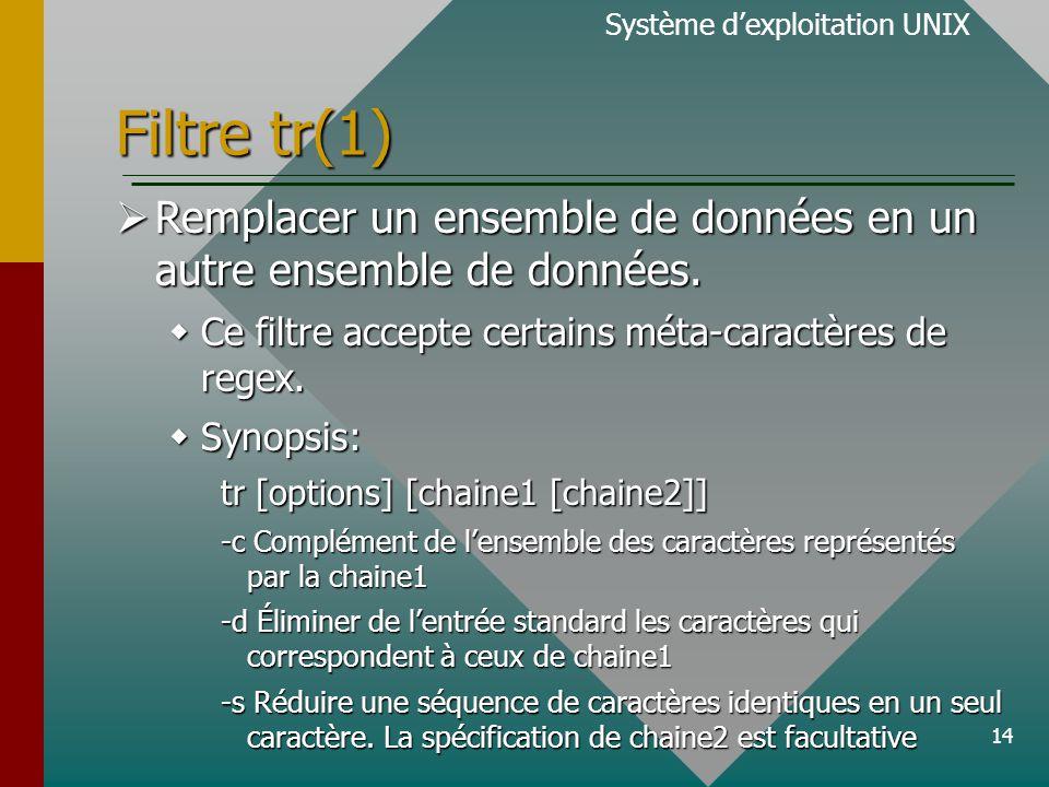 14 Filtre tr(1) Système d'exploitation UNIX  Remplacer un ensemble de données en un autre ensemble de données.