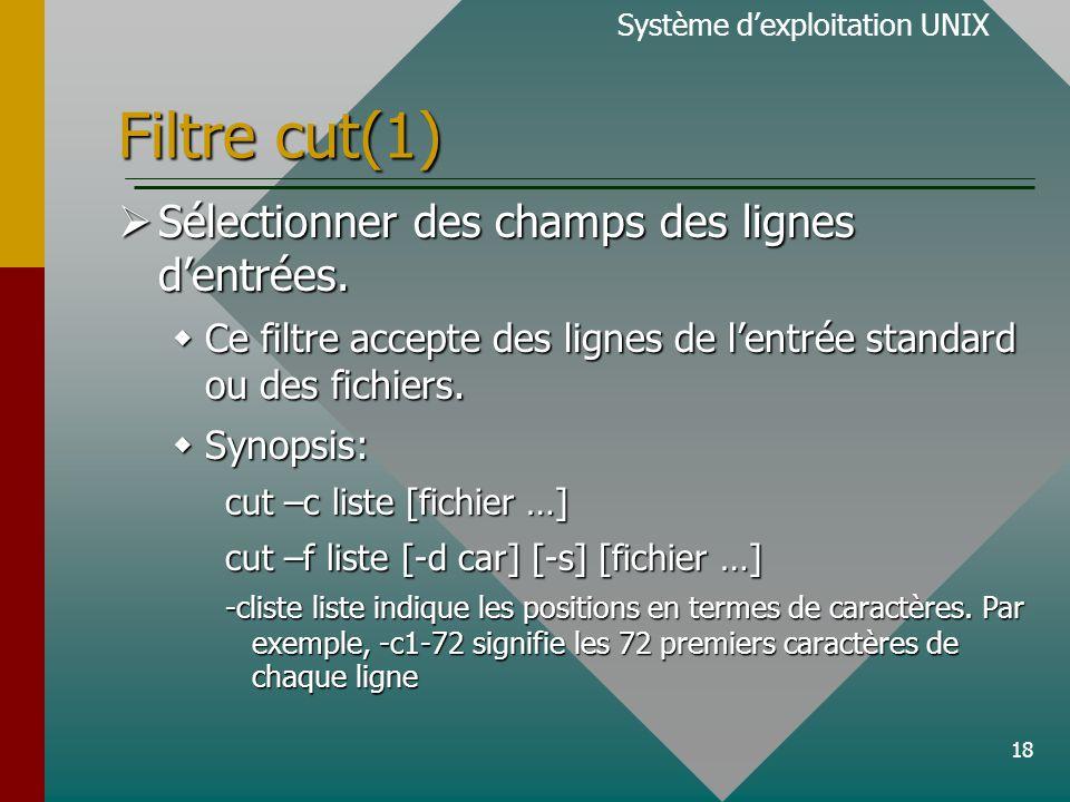 18 Filtre cut(1) Système d'exploitation UNIX  Sélectionner des champs des lignes d'entrées.