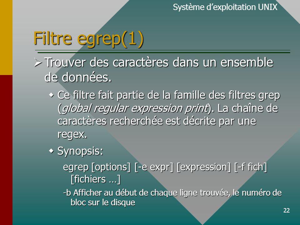 22 Filtre egrep(1) Système d'exploitation UNIX  Trouver des caractères dans un ensemble de données.