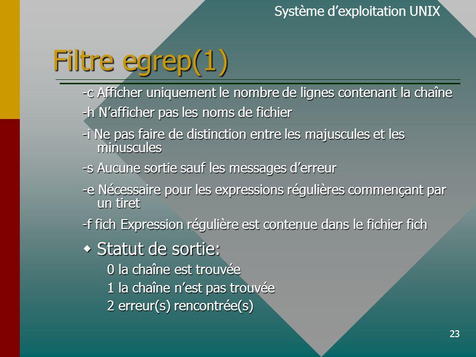 23 Filtre egrep(1) Système d'exploitation UNIX -c Afficher uniquement le nombre de lignes contenant la chaîne -h N'afficher pas les noms de fichier -i Ne pas faire de distinction entre les majuscules et les minuscules -s Aucune sortie sauf les messages d'erreur -e Nécessaire pour les expressions régulières commençant par un tiret -f fich Expression régulière est contenue dans le fichier fich  Statut de sortie: 0 la chaîne est trouvée 1 la chaîne n'est pas trouvée 2 erreur(s) rencontrée(s)