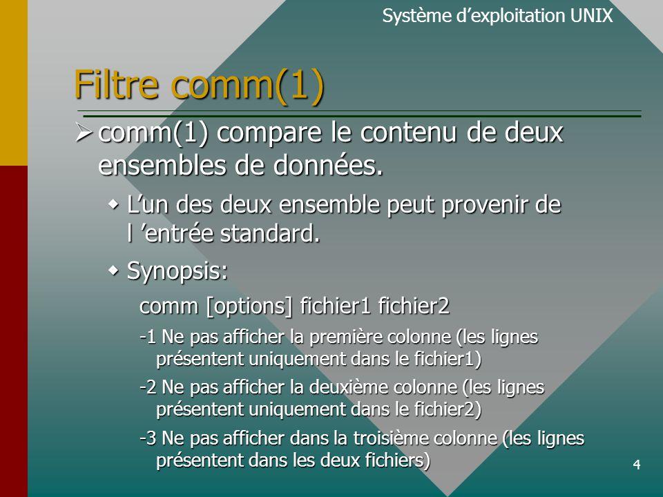 4 Filtre comm(1) Système d'exploitation UNIX  comm(1) compare le contenu de deux ensembles de données.