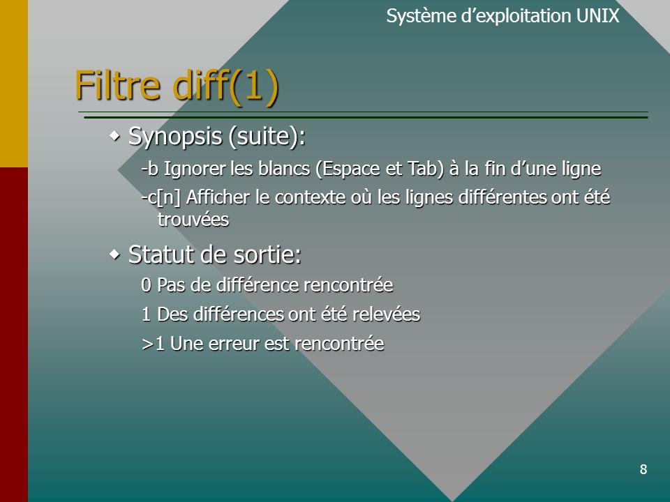 8 Filtre diff(1)  Synopsis (suite): -b Ignorer les blancs (Espace et Tab) à la fin d'une ligne -c[n] Afficher le contexte où les lignes différentes ont été trouvées  Statut de sortie: 0 Pas de différence rencontrée 1 Des différences ont été relevées >1 Une erreur est rencontrée Système d'exploitation UNIX