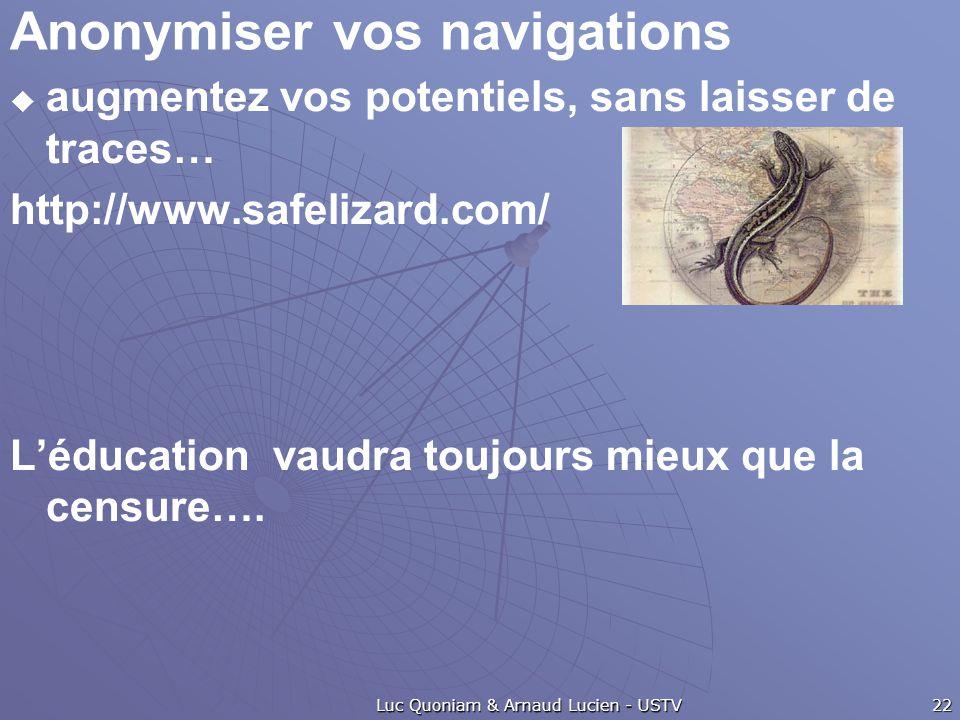 Anonymiser vos navigations  augmentez vos potentiels, sans laisser de traces… http://www.safelizard.com/ L'éducation vaudra toujours mieux que la cen