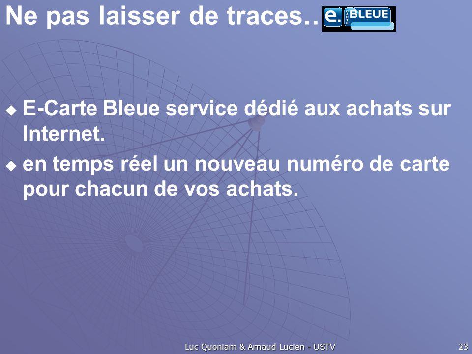 Ne pas laisser de traces…. E-Carte Bleue service dédié aux achats sur Internet.