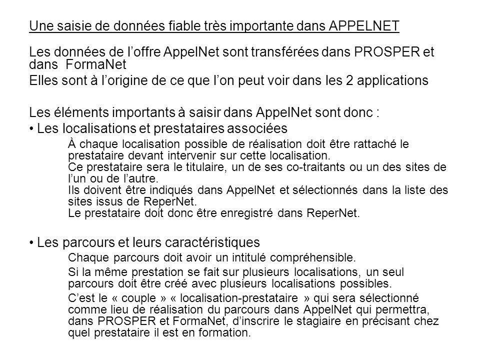 Une saisie de données fiable très importante dans APPELNET Les données de l'offre AppelNet sont transférées dans PROSPER et dans FormaNet Elles sont à