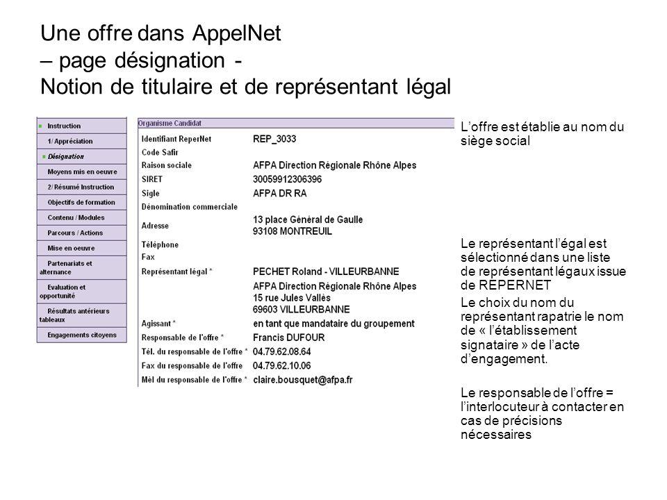 Une offre dans AppelNet – page désignation - Notion de titulaire et de représentant légal L'offre est établie au nom du siège social Le représentant l