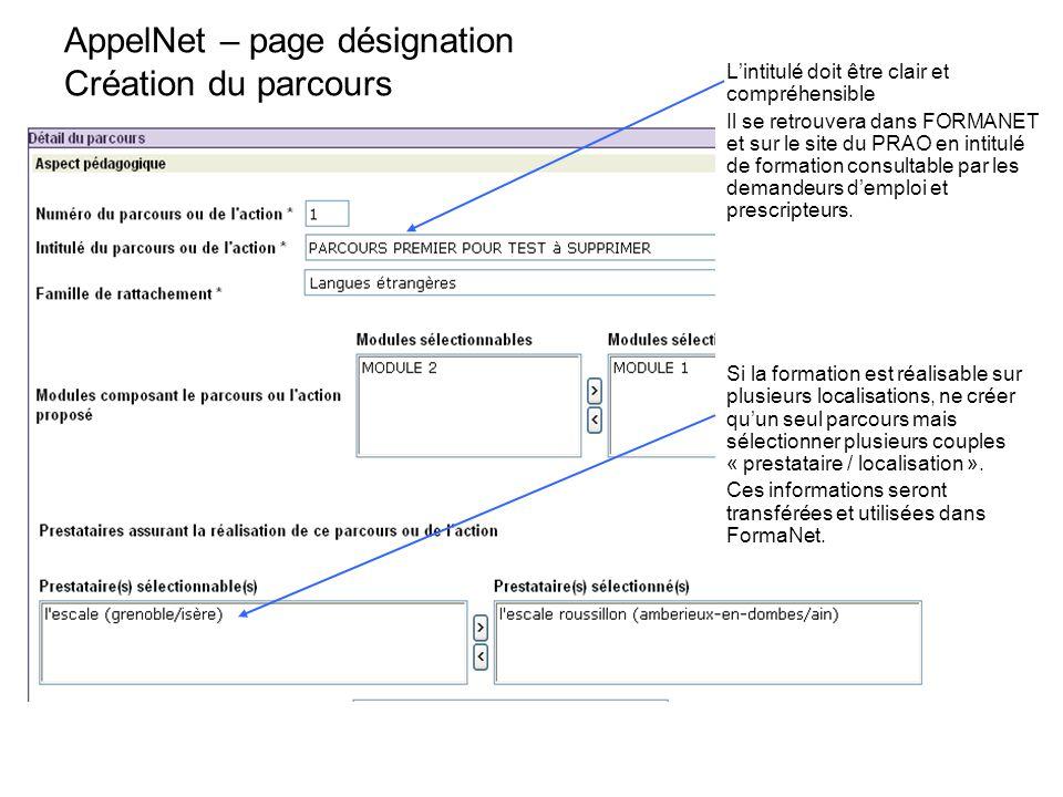 AppelNet – page désignation Création du parcours L'intitulé doit être clair et compréhensible Il se retrouvera dans FORMANET et sur le site du PRAO en