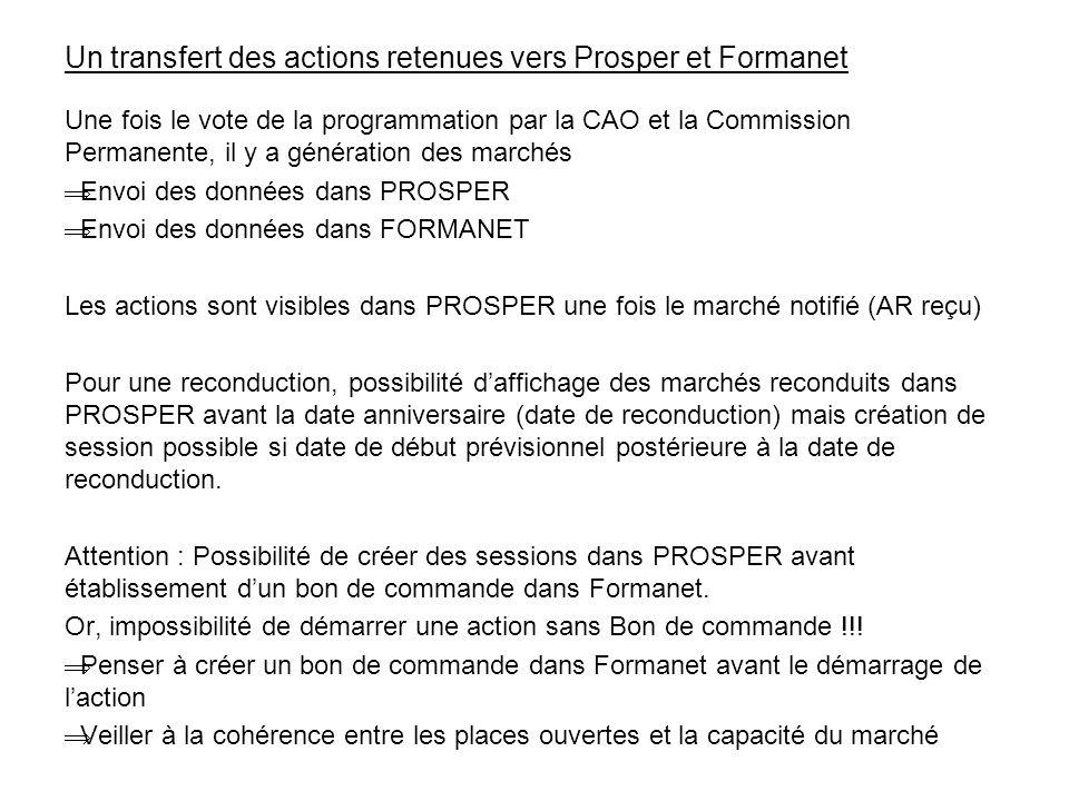 Un transfert des actions retenues vers Prosper et Formanet Une fois le vote de la programmation par la CAO et la Commission Permanente, il y a générat