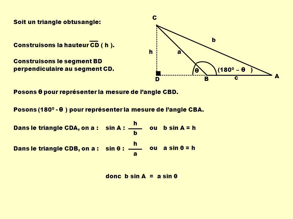 Soit un triangle obtusangle: Construisons la hauteur CD ( h ). D h C B A b a c Construisons le segment BD perpendiculaire au segment CD. θ (180 0 – )