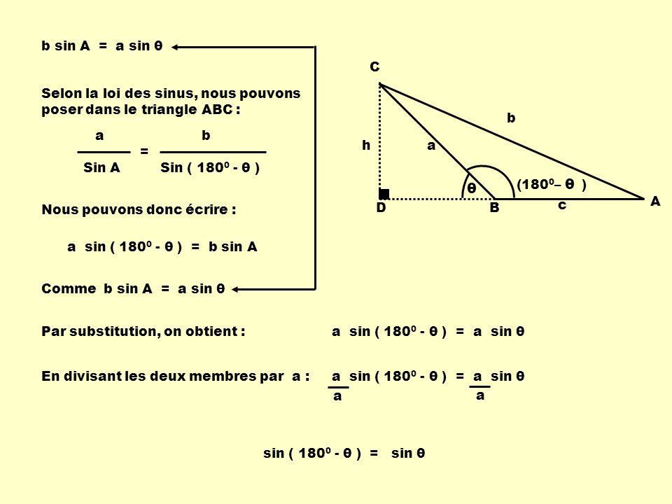 D h C B A b a c θ (180 0 – ) θ Selon la loi des sinus, nous pouvons poser dans le triangle ABC : a Sin A b Sin ( 180 0 - θ ) = Nous pouvons donc écrire : a sin ( 180 0 - θ ) = b sin A Comme b sin A = a sin θ b sin A = a sin θ Par substitution, on obtient :a sin ( 180 0 - θ ) = a sin θ En divisant les deux membres par a : a sin ( 180 0 - θ ) = a sin θ a a sin ( 180 0 - θ ) = sin θ