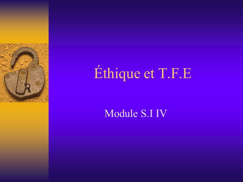  Chaque étape de la réalisation du T.F.E fait référence à l'éthique  Tout chercheur se doit de respecter les principes cités précédemment.