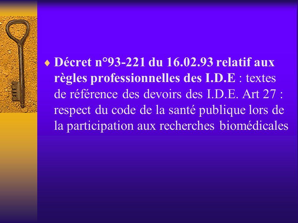 Respect de la personne  Intégrité du corps humain  Respect de la vie privée  Respect de la confidentialité et du secret professionnel