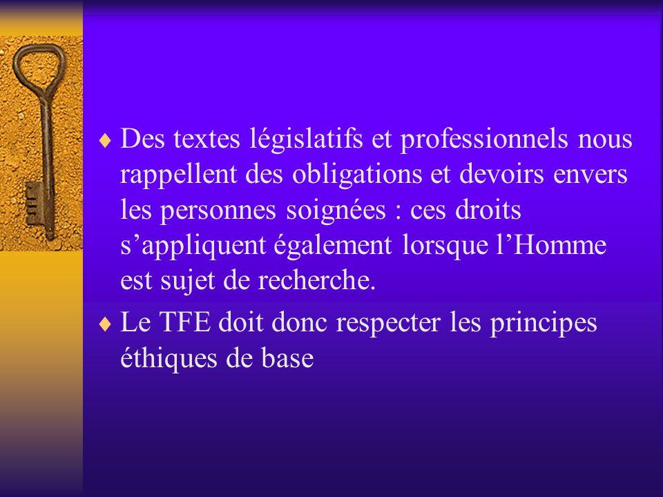 5 principes sont soulignés :  Droit à l'autodétermination  Droit à l'intimité  Droit à la confidentialité  Protection contre l'inconfort  Traitem