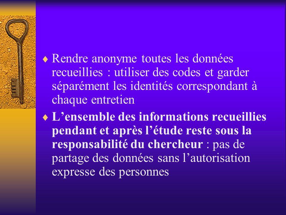 Pour toute démarche de recherche…  Anonymat des personnes investiguées  Anonymat des structures investiguées  Confidentialité des données