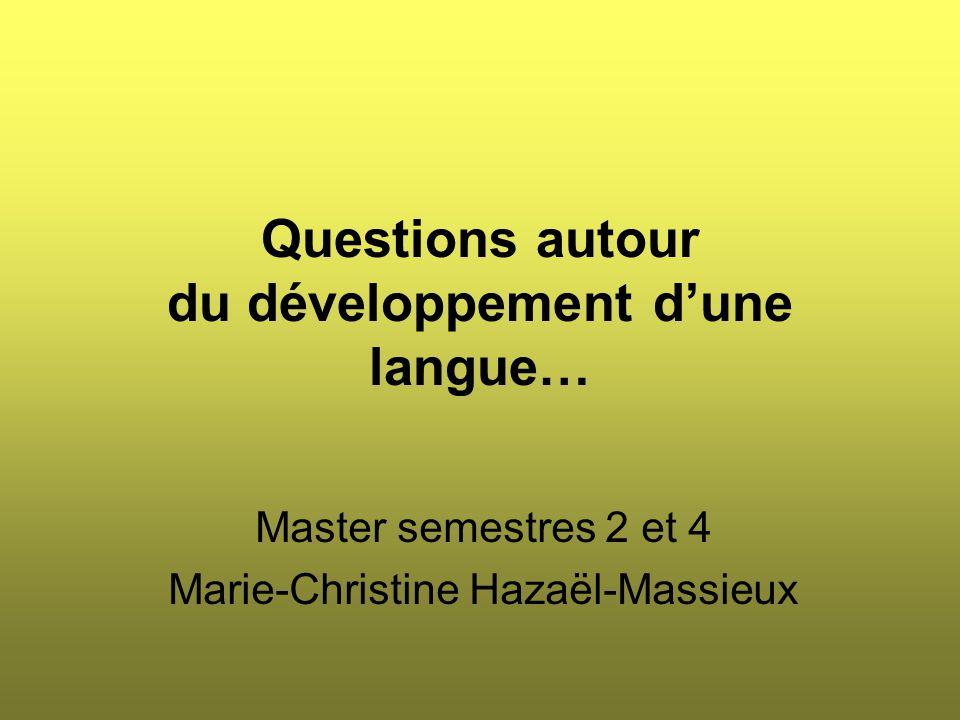 Proposition à discuter : Dans une langue en cours de développement (à définir), il est plus particulièrement difficile de faire la part, dans l'évolution linguistique, de :  L'évolution systémique « naturelle » (liée d'ailleurs aussi souvent à des contacts de langues).