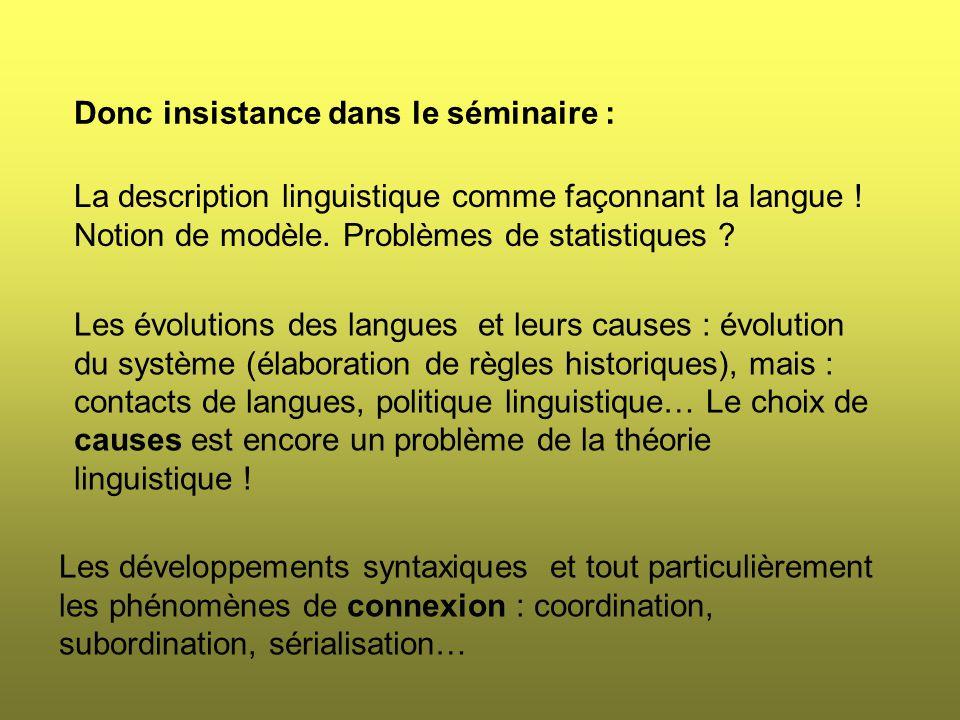 Donc insistance dans le séminaire : La description linguistique comme façonnant la langue .