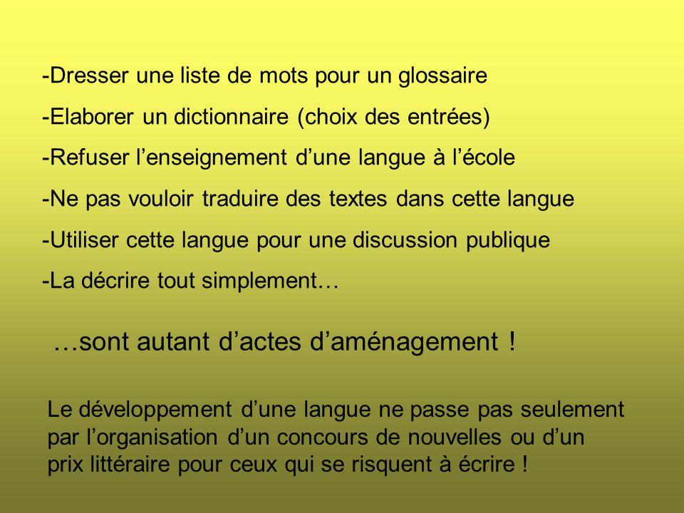 -Dresser une liste de mots pour un glossaire -Elaborer un dictionnaire (choix des entrées) -Refuser l'enseignement d'une langue à l'école -Ne pas vouloir traduire des textes dans cette langue -Utiliser cette langue pour une discussion publique -La décrire tout simplement… …sont autant d'actes d'aménagement .