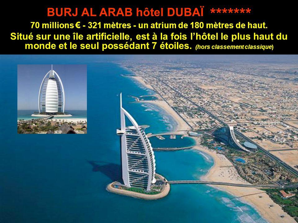 BURJ AL ARAB hôtel DUBAÏ ******* 70 millions € - 321 mètres - un atrium de 180 mètres de haut.