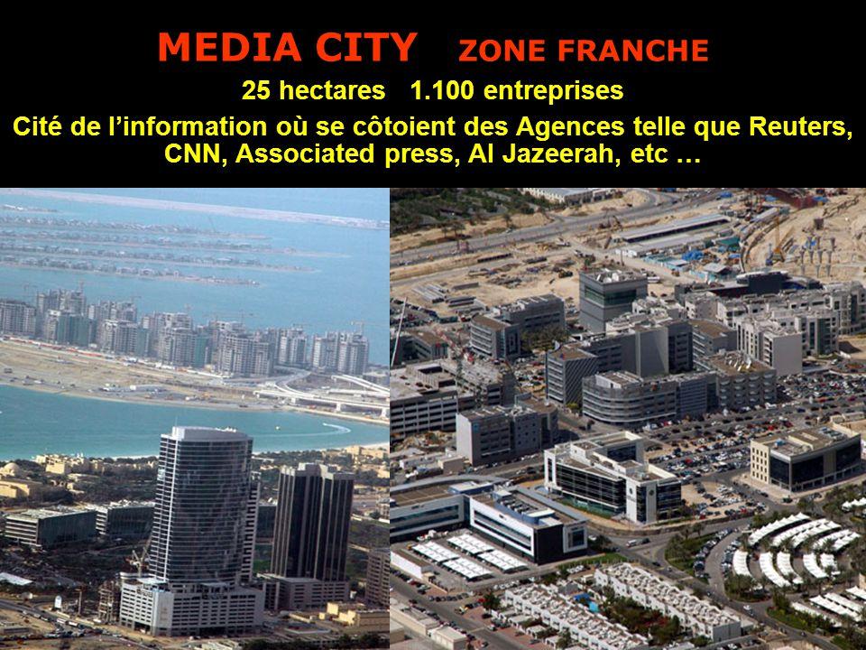 MEDIA CITY ZONE FRANCHE 25 hectares 1.100 entreprises Cité de l'information où se côtoient des Agences telle que Reuters, CNN, Associated press, Al Jazeerah, etc …
