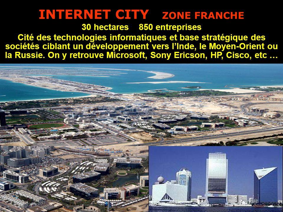 INTERNET CITY ZONE FRANCHE 30 hectares 850 entreprises Cité des technologies informatiques et base stratégique des sociétés ciblant un développement vers l'Inde, le Moyen-Orient ou la Russie.