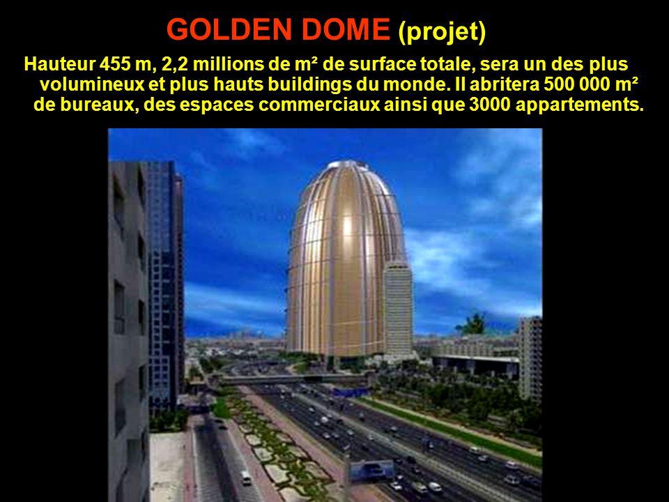 GOLDEN DOME (projet) Hauteur 455 m, 2,2 millions de m² de surface totale, sera un des plus volumineux et plus hauts buildings du monde.
